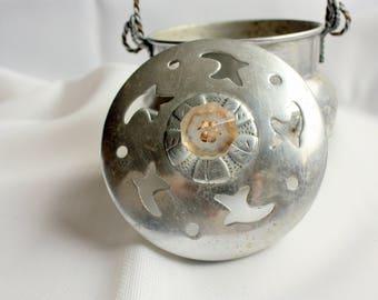 Unusual Aluminum Pot, Vintage Aluminum Pot, Embosse4d Aluminum Container,
