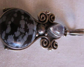 Sterling Silver, Snowflake Obsidian and Moonstone Pendant