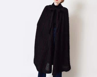 Jean Muir Wool Boucle Hooded Cape Vintage Black Wool Cape Designer Rare XS S M