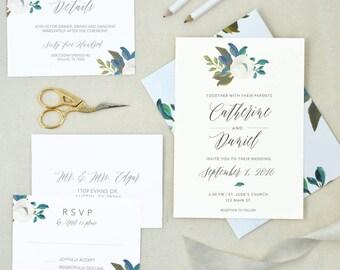 Blue Floral Wedding Invitation. Wedding Invite Set. Floral Invite. Spring Floral Wedding Invitations. Navy Floral Invites. Spring Wedding.