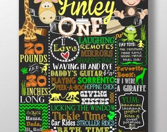 Jungle birthday, jungle 1st birthday board, Zoo birthday party, monkey 1st birthday, safari birthday sign, zoo party, jungle animalsBRDJGL05