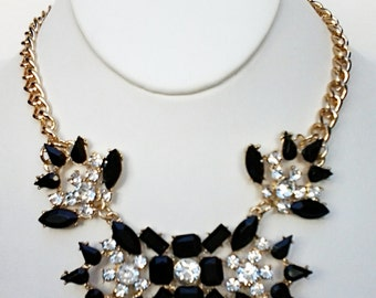 Black and Crystal Clear Beads Necklace / Gold Chain  Bib Necklace.