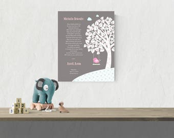 Baby Girl Baptism Gift Godchild Baptism Gift  Girl Nursery Art  Christening Print Gift from Godmother Gift from Godparents   - 47677