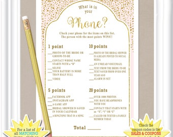 WHAT is in Your PHONE Bridal Shower game - gold accents & a pale blush color, Bachelorette party game, diy PRINTABLE, 29BR