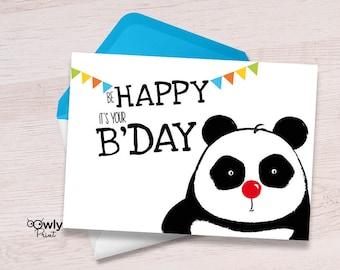 Panda bday card etsy printable panda be happy its your bday card ready to print panda happy birthday card bookmarktalkfo Choice Image