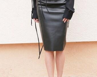 Faux Leather Pencil Skirt/Everyday Skirt/Formal Skirt/Party Skirt/Black Faux Leather Skirt/Fashion Skirt/Adjustable Slit Skirt/F1571