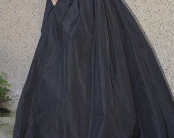 Lovely Black Long Maxi Skirt/ High or Low Waist Skirt /Long Waistband Skirt/F1190