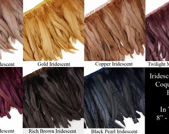 "8"" - 10"" Long Iridescent Metallic Coque Feather Fringe in 7 Colors - Rose Gold, Gold, Copper, Mauve, Burgundy, Brown & Black."