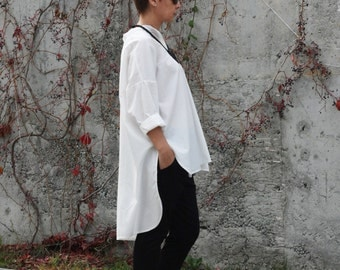 Asymmetric Cotton Shirt / White Party Top Tunic / Loose Blouse SH13216