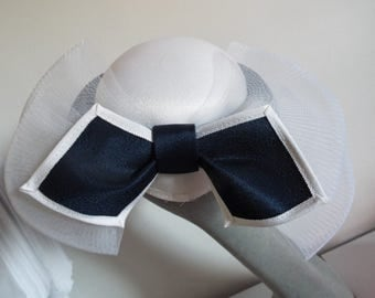 Vintage Hat 1950's Deep Navy and white with double layer crown and large bow at back with crinoline netting By Headways