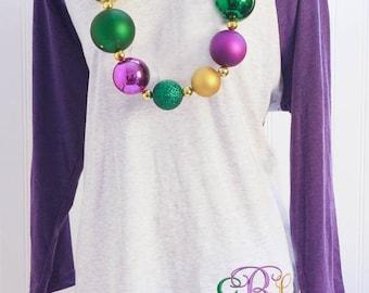 Monogrammed Mardi Gras Raglan Shirt | Ladies Mardi Gras Shirt | Personalized Mardi Gras Shirt | Ladies Mardi Gras Monogram Shirt | Purple T