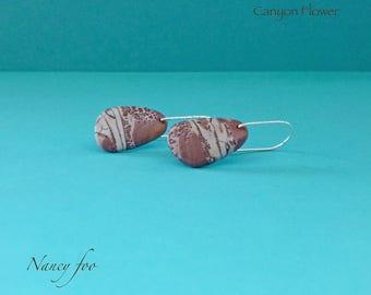 Statement Earrings- Sonora Dendritic Rhyolite - Sterling Silver - Gemstone Earrings - Rhyolite Earrings - Canyon Tributaries Earrings