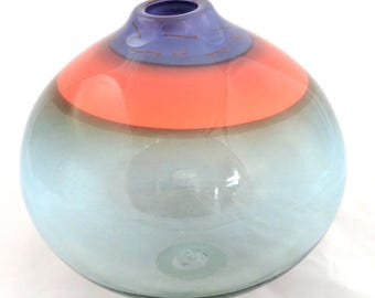 Amy Roberts glass globe vase, 1983