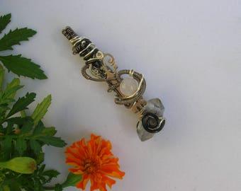 "Double Terminated Quartz & Rose Quartz ""The Sacred Key"" Wire Wrap Pendant / Gemstone Talisman Amulet Pendant From The Sacred Key Collection"