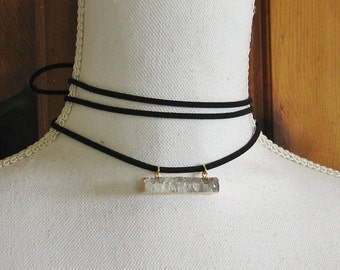 """Wrap Choker Necklace with Gold Plated Crystal Druzy Pendant - 60"""" Vegan Leather Choker Tie Necklace - Boho Coachella Style Jewelry"""
