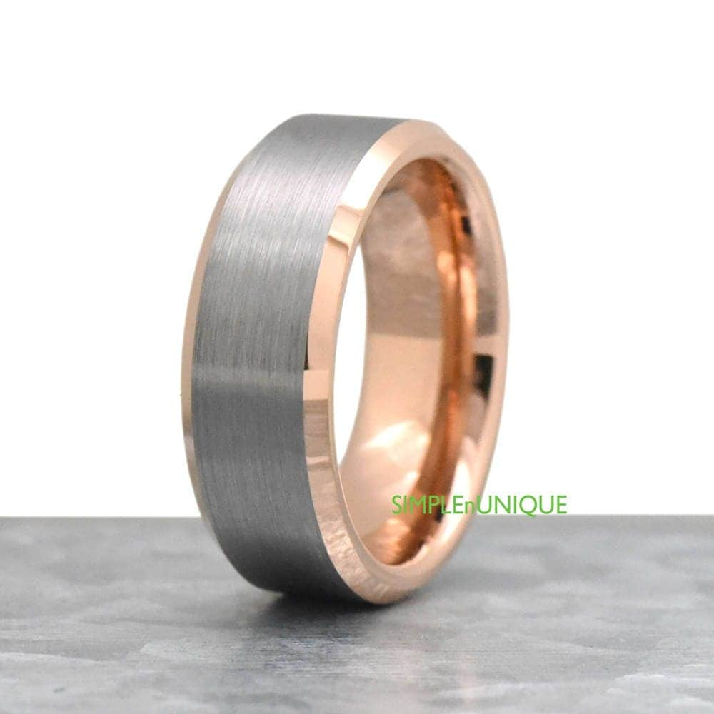 Unique Men S Wedding Bands: Unique Mens Ring Rose Gold Brushed Two Tone Tungsten Wedding