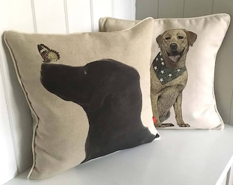 Black Labrador cushion, Golden Labrador pillow, Labrador gift, handmade, neutral colour linen/cotton, dog lover gift, delivered FREE in UK