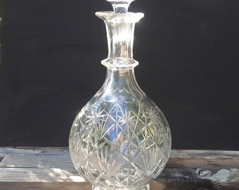 Ornate Pressed Glass Wine Carafe, Claret Jug, Vintage Glass Decanter, Original Glass Stopper, Heirloom Glassware, Unique Slip-proof Neckline