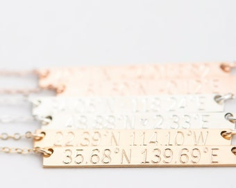Personalized Coordinates Necklace, Custom Coordinates, Engraved Latitude Longitude, Bridesmaid Necklace, Mother's Day Gift