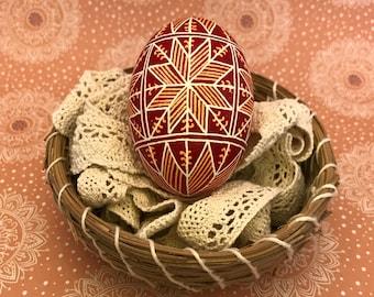 Pysanky Pysanka Ukrainian Stars on White Chicken Egg