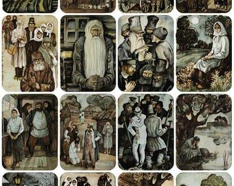 N. Nekrasov - Who Is Happy in Russia? - Artist N. Vorobyov - Set of 16 Vintage Soviet Postcards, 1975. Izobrazitelnoe iskusstvo, Moscow
