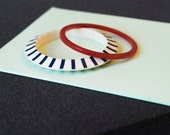 Vintage Blue & Cream Striped and Red Bangle Set