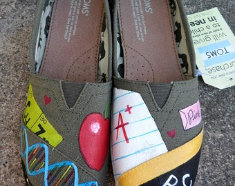 Science English Teacher Shoes, Women's Hand Painted Shoes, Teaching TOMS, Gift for her Custom TOMS, Painted Slip Ons, Gift for teacher