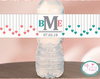 Hearts and Initials  Personalized Wedding Water Bottle Labels -Bachelorette favors--Wedding favor- Custom  labels- Waterproof Glossy labels