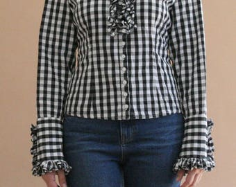 monochrome plaid ruffle blouse with corsage back