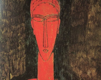 Modigliani-Art-Sculpture-Amedeo Modigliani-Tribal-Red-Italy-Vintage-Postcard-Home decor