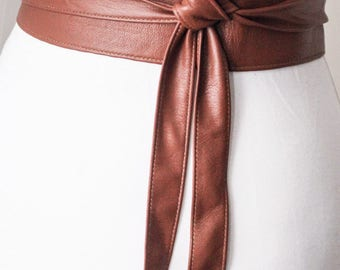 Brown Soft Belt Obi Leather wrap tie| Leather Obi belt | Corset Belt | Waist Belt | Brown Leather Belt | Petite to Plus size belts