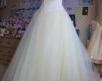 Seven layered white wedding dress gown formal cream ivory marriage prom ball