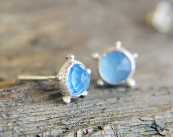 Blue Chalcedony Earrings, Sterling Silver Rose Rut Blue Chalcedony Stud Earrings, Blue Earrings, Chalcedony Stud Earrings