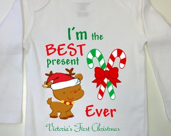 Baby First Christmas Outfit, Christmas onesie, Baby First Chistmas Bodysuit, Baby's First Christmas Onesie, Christmas outfit, First XMas, Fi
