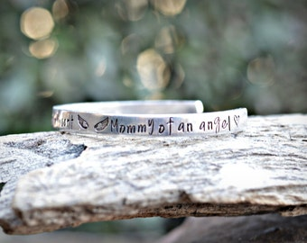 Mommy of an Angel Bracelet - Hand stamped Cuff Bracelet - Memory Bracelet- Hand Stamped Personalized Bracelet - Hand Stamped Taken from this