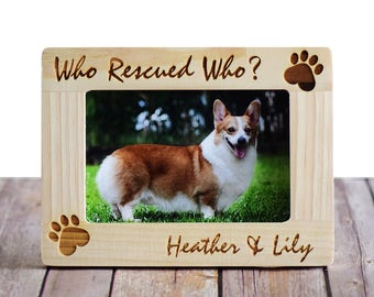 who rescued who personalized pet picture photo frame custom picture frame pet adoption frames pet lover gifts dog frame cat frame