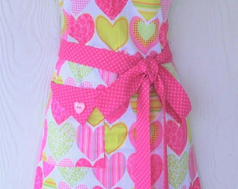 Pink Valentine's Day Apron, Hearts, Polka Dots, Retro Style Full Apron, KitschNStyle