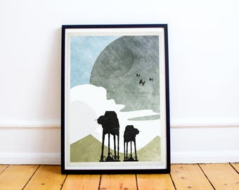Rogue One - Empire Base on Scariff - Star Wars Minimalist Art Poster Print - Abstract Minimalist - (Available In Many Sizes)