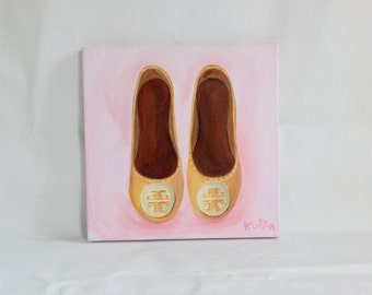 Tory Burch Flats Original Painting, Fashion Illustration, Fashion Art, Shoe Painting Illustration, Tory Burch Inspired, Tory Burch, Shoe Art