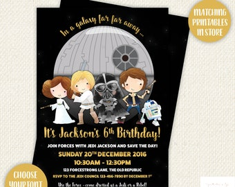 Star Wars Birthday Invitation, Star Wars Party invitation, Star Wars Birthday, Starwars invitation, Starwars birthday, printable