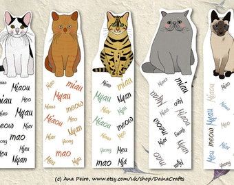 Printable Bookmarks - Cat Bookmarks - Cats Bookmarks - PDF Download - Instant Download - Digital Download