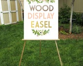 Wood Floor Easel Wedding Sign Stand Lightweight Display Large Chalkboard Foam Board Canvas Wood Signs up to 30 x 40in . Hand painted Colors