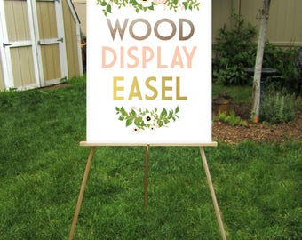 Wood Floor Easel Wedding Sign Stand Lightweight Displays Large Chalkboard Foam Board or Canvas prints up to  24 x 36in . Hand painted Colors