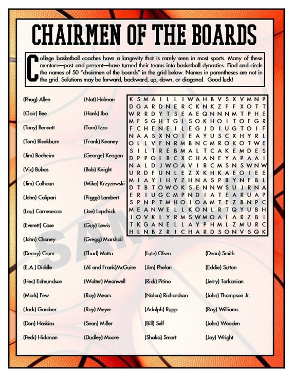 college coaches printable word search basketball games