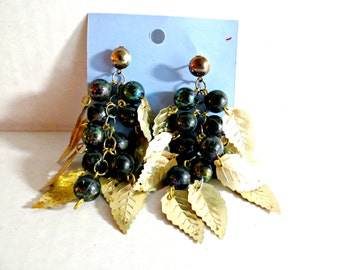 Big Dangling Vintage Pierced Earrings Brass Black Beads