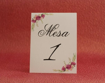 Floral Table Numbers (10 count)