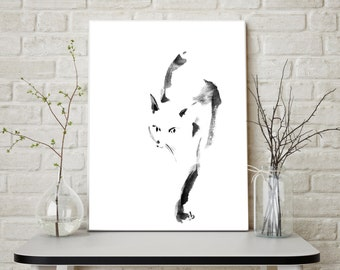 Cat print, minimalist cat painting art, watercolor painting of cat. black and white modern wall art