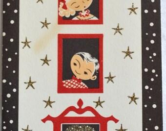 UNUSED Vintage Christmas Card - Mid Century Glitter Merry Christmas House