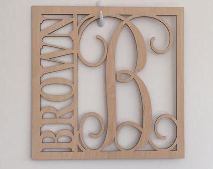 "24"" Wood Square Monogram Initial Last Name Unfinished"