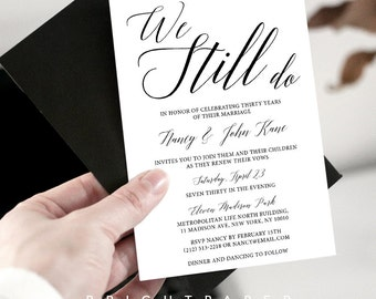 Wedding vow renewal invitation wedding anniversary party vow renewal invitation we still do simple traditional classic vow renewal invite digital printable vr001 stopboris Images